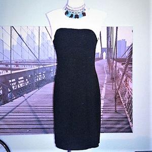ELLEN TRACY career sheath dress, color-blocked, M